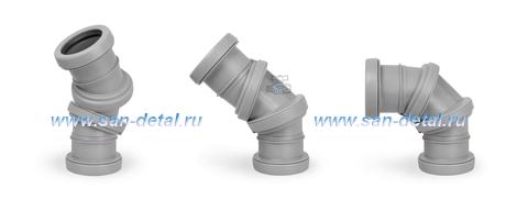Отвод 50 ø с регулируемым углом 0-90° двухраструбный