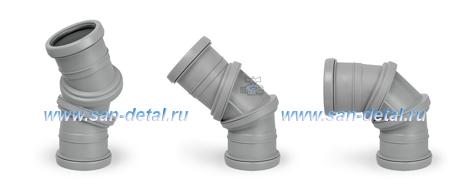 Отвод 75 ø с регулируемым углом 0-90° двухраструбный