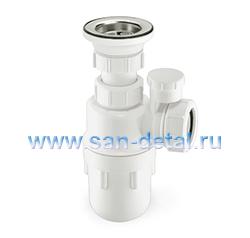 Сифон колбовый 40 ø с вакуумным клапаном